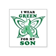 "I Wear Green for my Son Square Sticker 3"" x 3"""