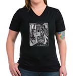 Fish-Footman Women's V-Neck Dark T-Shirt