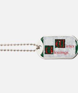 WinterBlessingsGreeting Dog Tags