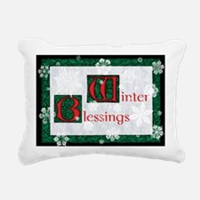 WinterBlessingsGreeting Rectangular Canvas Pillow