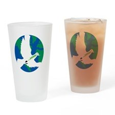 World Dove on black Drinking Glass