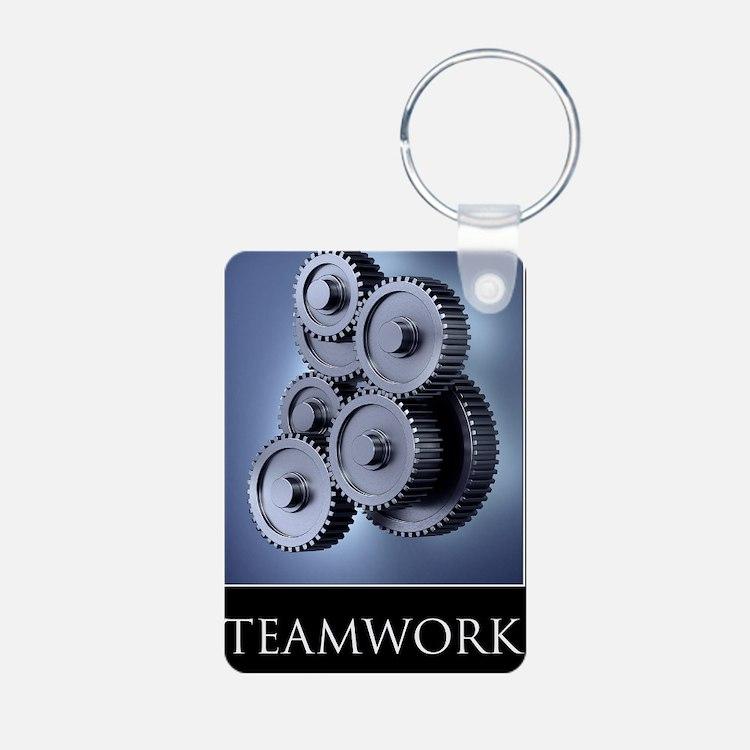poster_teamwork_01 Aluminum Photo Keychain