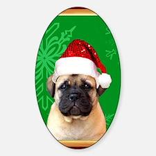 christmasbullmastiffpuppycard Sticker (Oval)