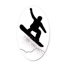 Snowboarder Oval Car Magnet