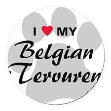 I Love My Belgian Tervuren Round Car Magnet