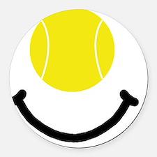 Tennis Smile Black Round Car Magnet