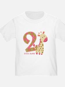 2nd Birthday Giraffe Personalized T
