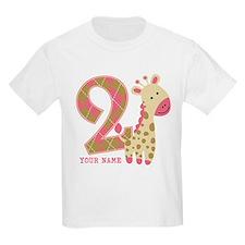 2nd Birthday Giraffe Personalized T-Shirt