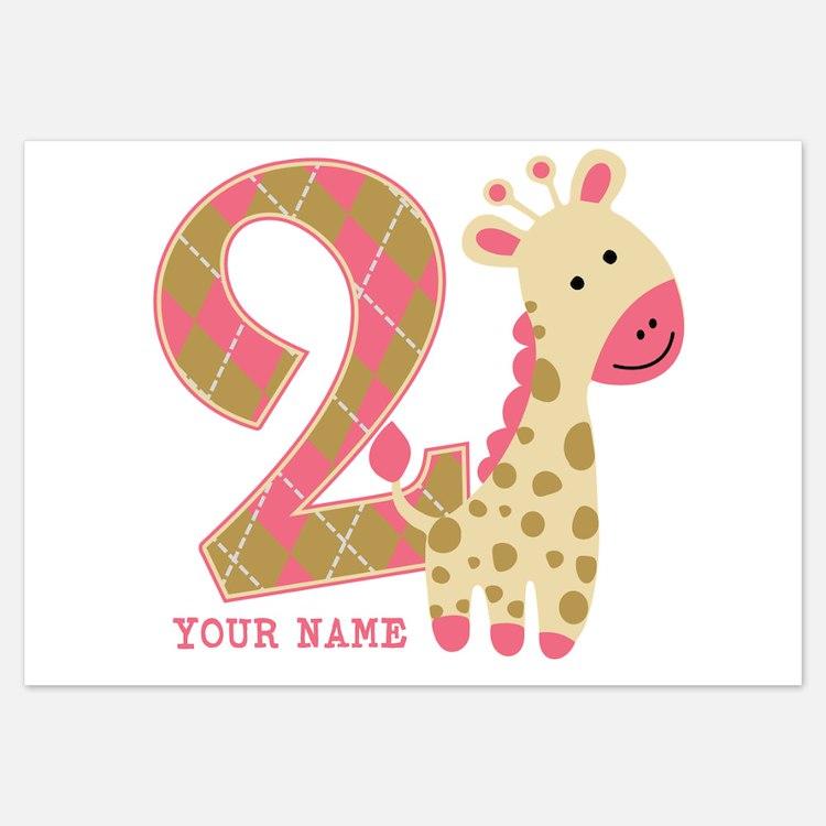 2nd Birthday Giraffe Personalized Invitations
