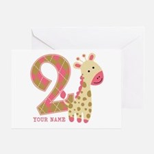 2nd Birthday Giraffe Personalized Greeting Card