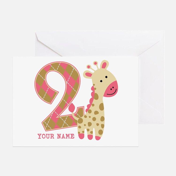 2nd Birthday Giraffe Personalized Greeting Card