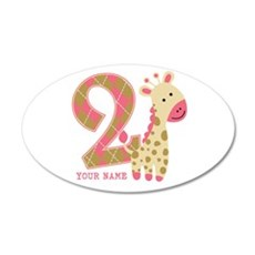 2nd Birthday Giraffe Personalized Wall Decal
