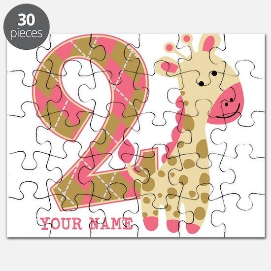 2nd Birthday Giraffe Personalized Puzzle
