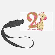 2nd Birthday Giraffe Personalized Luggage Tag