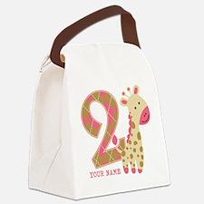 2nd Birthday Giraffe Personalized Canvas Lunch Bag