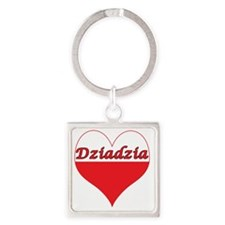 Dziadzia Polish Heart Square Keychain