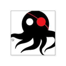 """Cthulhu Pirate Black/Red Square Sticker 3"""" x 3"""""""