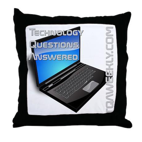 tqa-weekly-merch-transparent-greytext Throw Pillow