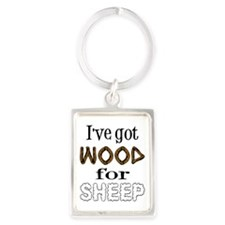 Wood for Sheep (text) Portrait Keychain
