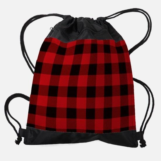 Red Plaid Drawstring Bag