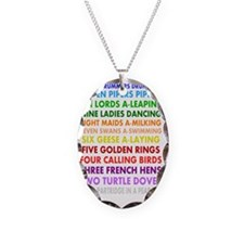 12 days christmas darks Necklace Oval Charm