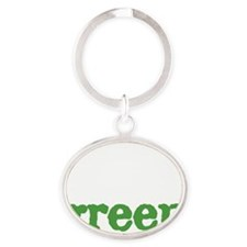think-green-blk Oval Keychain