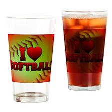 yellow_i_love_softball Drinking Glass
