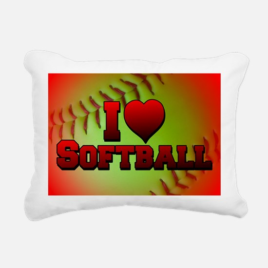 yellow_i_love_softball Rectangular Canvas Pillow