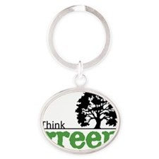 think-green-wht Oval Keychain