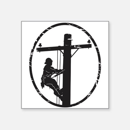 "lineman born 1 Square Sticker 3"" x 3"""
