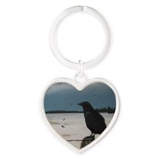 old-crow-poster2 Heart Keychain