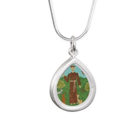 Saint Francis of Assisi Silver Teardrop Necklace