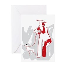 Fashion Woman and dog Greeting Card