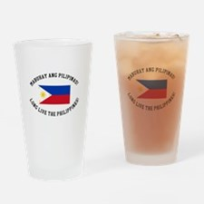 Long Live The Philippines! Drinking Glass