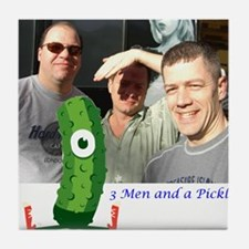 3 Men and a Pickle.gif Tile Coaster
