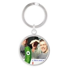3 Men and a Pickle.gif Round Keychain