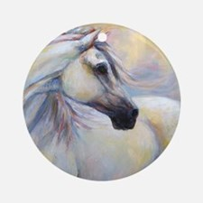 Heavenly Horse art by Janet Ferraro Round Ornament