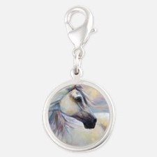 Heavenly Horse art by Janet Fe Silver Round Charm
