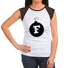 F_BOMB_BLK Women's Cap Sleeve T-Shirt