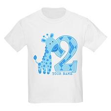 2nd Birthday Blue Giraffe Personalized T-Shirt