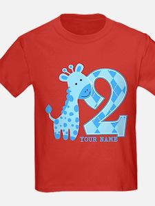 2nd Birthday Blue Giraffe Personalized T