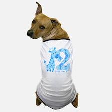 2nd Birthday Blue Giraffe Personalized Dog T-Shirt