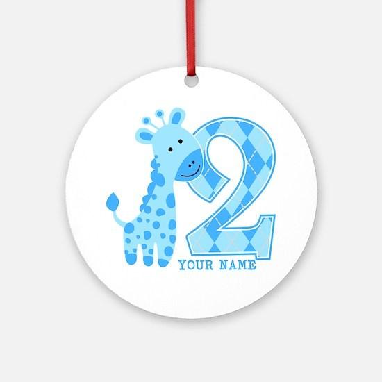 2nd Birthday Blue Giraffe Personalized Ornament (R