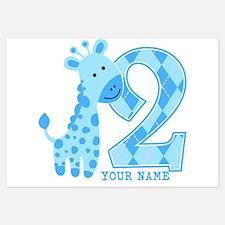 2nd Birthday Blue Giraffe Personalized Invitations