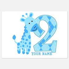 2nd Birthday Blue Giraffe Personalized 5x7 Flat Ca