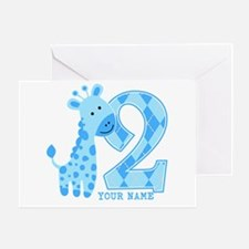 2nd Birthday Blue Giraffe Personalized Greeting Ca