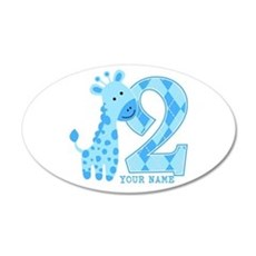 2nd Birthday Blue Giraffe Personalized Wall Decal