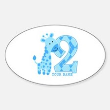 2nd Birthday Blue Giraffe Personalized Decal