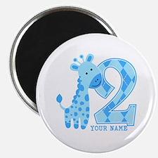 2nd Birthday Blue Giraffe Personalized Magnet