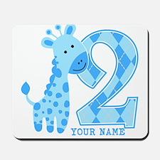 2nd Birthday Blue Giraffe Personalized Mousepad
